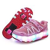 WFSH Zapatos Casuales de Verano, Patines para niños, Zapatos Luminosa de Carga USB de Dos Ruedas, Patines para Adultos (Color : Pink, Size : 28)