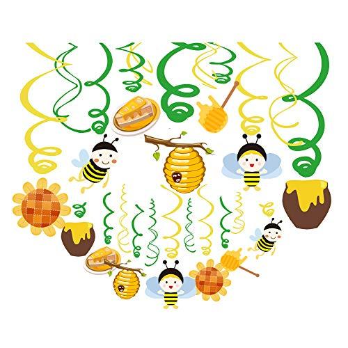 Sayala 30 Stücke Biene Thema Dekohänger Spiral Girlanden Hängedekoration für Geburtstag und Babyparty,Hummelparty,Bienenparty