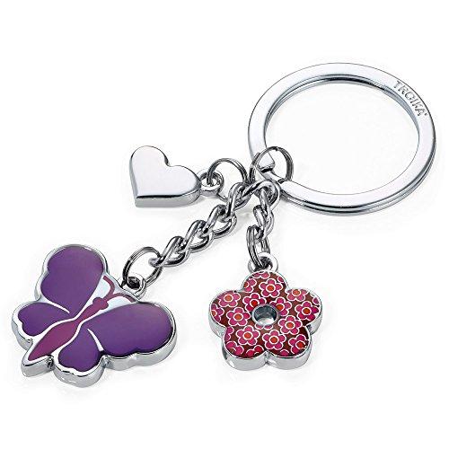 TROIKA Schlüsselanhänger,PINK Butterfly - KR16-01/PU - 3 Charms: Schmetterling, Blume, Herz - pink - Metall/Emaille - das Original von TROIKA