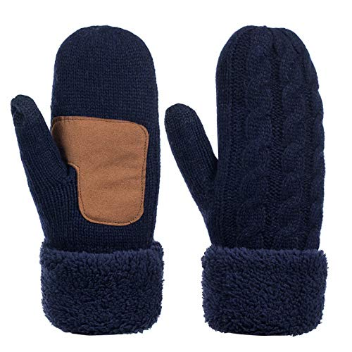 Winter Wool Mitten Gloves For Women, Warm Knit Touchscreen Thermal Cable Gloves With Thick Fleece Lining (Navy)