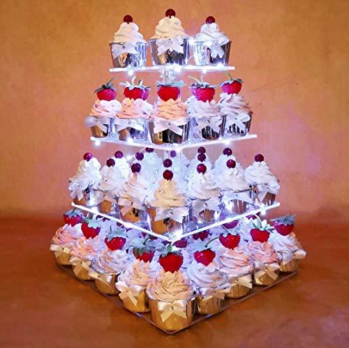 HEXNUB 4 Etagen Acryl Cupcake Stand Erleuchte Kuchen und Dessert Quadrat Display Servier Turm mit LED Lichter für Hochzeitsparties Geburtstag Babyparties Nachmittag Tee (Weiß)