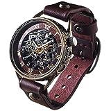KINO(キノ) 手作り腕時計 自動巻き 裏スケルトン メカニックブラック ワインブラウン ハンドメイド ウォッチ