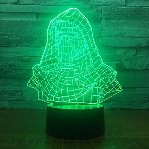 hqhqhq - Lámpara de noche con luz LED para decoración del hogar, diseño de Darth Vader con 16 colores cambiantes, con mando a distancia