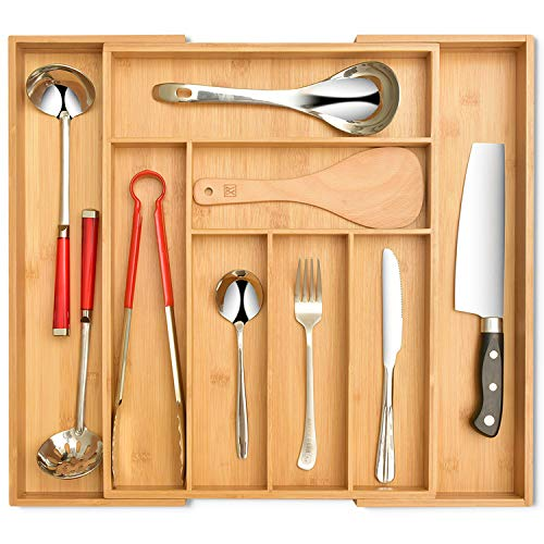 Signature Living Bamboo Expandable Utensil Drawer Organizer, Premium Bamboo for Cutlery, Flatware, Silverware - Drawer Dividers for Easy Storage