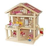 Villa Freda rosé Puppenhaus + Puppenfamilie + Hussen + Puppenhausmöbel 26teilig + Babywiege aus...