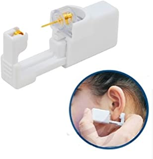 NEW Ear Piercing Gun Disposable Sterile Ear Nose Piercing Kit Tool Stud Safety Portable Ear Piercing Kit (Gold White)