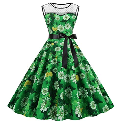 St. Patrick's Day Women Shamrock Print Party Dress Mesh Splice Big Swing Dress
