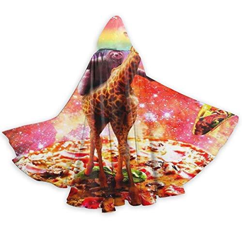 Amanda Walter Capa para Adultos Capa de Montar Jirafa Unicornio Pizza Taco Capa con Capucha Unisex Capa de Bruja Capa Larga Capa de Fiesta de Cosplay de Halloween