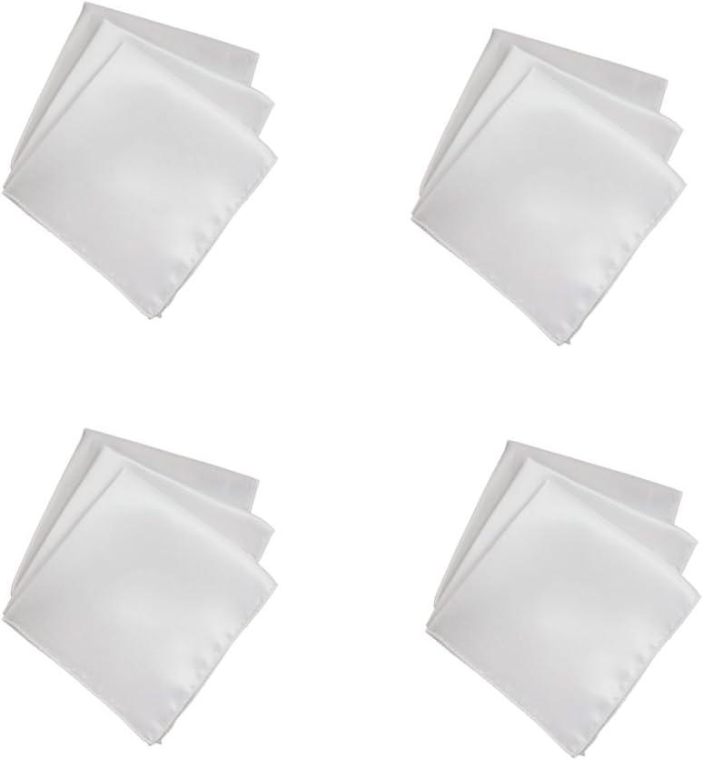 Segolike 40pcs Mens Solid Square Handkerchief Wedding Party Decor Hanky White