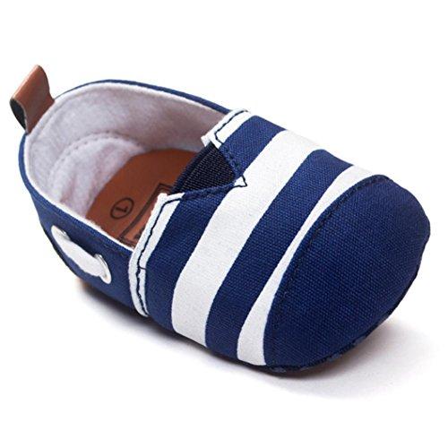 BYSTE Scarpe da Bambino Sneaker Pelle Anti Scivolo Fondo Morbido Scarpe per Bambini Neonato Ballerine Piatto Scarpine Primi Passi 0-18 Mesi (6-12 Mesi, Blu)