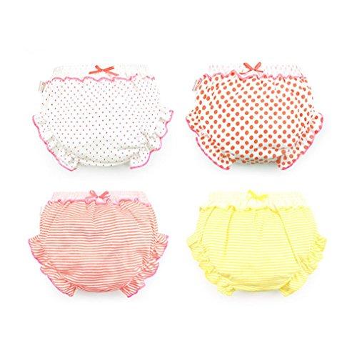JIEYA Lot de 4 sous-vêtements en coton pour bébé fille Couleurs assorties - Noir - Small