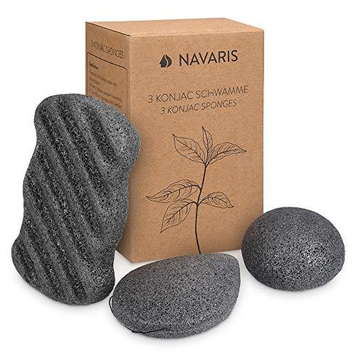 Navaris Set de 3x esponja exfoliante Konjac - Esponjas de limpieza facial para todo tipo de piel rostro cuerpo - 100% natural vegana - Negro carbón