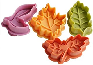 4Pcs Leaves Plunger Reusable Pie Crust Cutter Plastic Press Leaf Embosser For Cookie Fondant