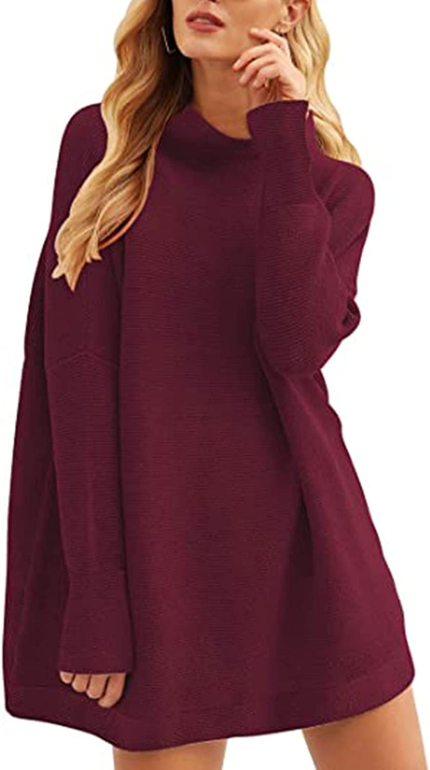 Womens Turtleneck Pullover Sweaters Oversized Batwing Long Sleeve Loose Knitted Jumpers Tops High Collar Outerwear Pullover