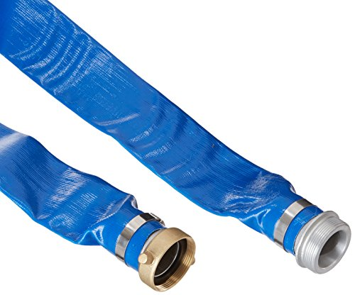 Apache 98138040 2' x 25' Blue PVC Lay-Flat Discharge Hose with Aluminum Pin Lug Fittings