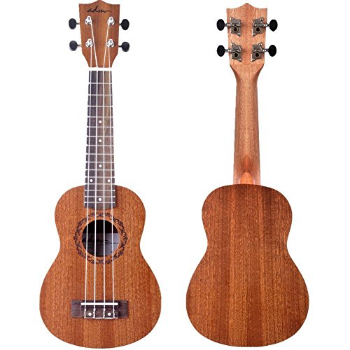 ADM Ukulele Soprano 21 Inch Mahogany Hawaiian Ukelele, Beginner Bundle with Teaching CD, Ukulele Strap, Tuner