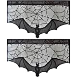 ZeeDix 2 Pcs Halloween Lace Bat Window Curtain- Black Fireplace Mantles Scarf, Door Curtain and for Halloween Home Party Decorations, Halloween Party Supplies