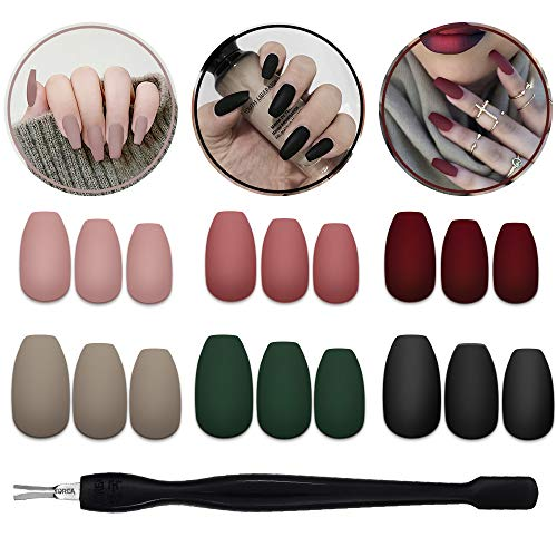144 Pcs Matte Press on Nails Coffin,6 Boxes Medium Fake Nails,Acrylic Ballerina Solid Colors Matte False Nails Kit,Manicure Set with Nail fork