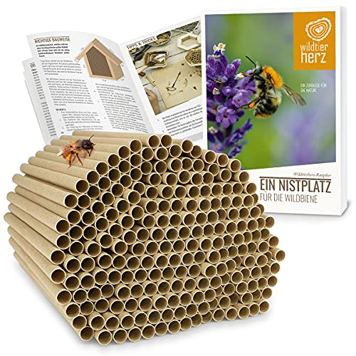 wildtier herz I 200 Insektenhotel Nisthülsen Ø 6mm, E-Book, längere Lebensdauer als Pappröhrchen aus Papier, Niströhren Füllmaterial Nisthilfe...