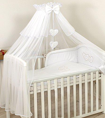 Pro Cosmo Betthimmel Moskitonetz 480 cm Himmel + Halter für Babybett Kinderbett Baldachin Herzen Himmelstangen Himmelhalter Bett-Himmel - Weiß