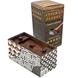 Enigma Decode Secret Puzzle Box - Money and Gift Card Holder in a Wood Magic Trick Lock with Two Hidden Compartments Brainteaser