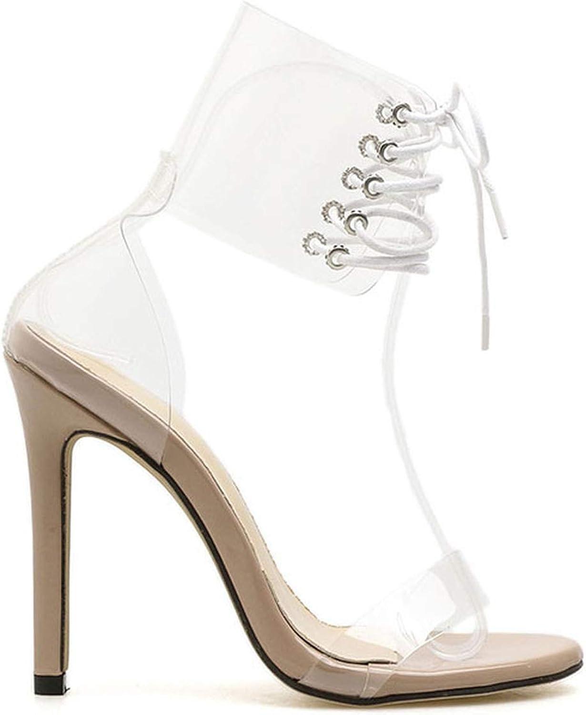 Women Sandals Cross-Tied Super High Heels Transparent Summer Party shoes Sandalias women 2018