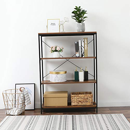 WANSE 4-Tier Industrial Style Shelf with Wooden Board & Metal Frame,for Bookcase,A-Shaped Utility Display Organizer,Plant Flower Stand Storage Rack