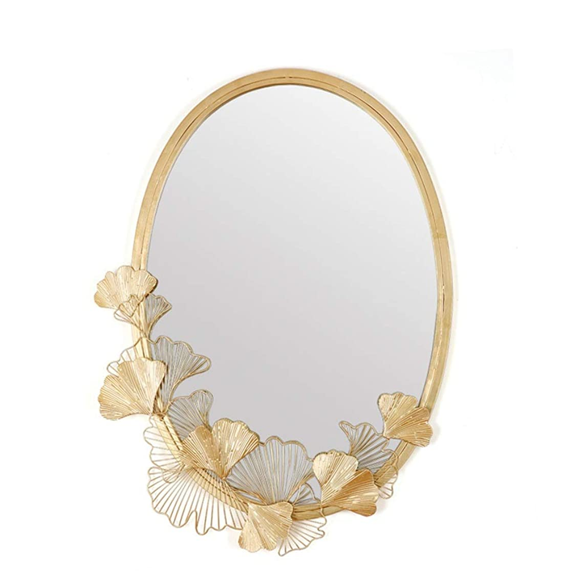 リーダーシップタールドット鏡 壁掛け アート装飾壁鏡ウォールミラー装飾壁ミラー 浴室/お風呂用/部屋/玄関インテリア (色 : ゴールド, サイズ : 64x86cm)