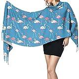 Bufanda de mantón Mujer Chales para, Bufanda cálida de invierno con flamencos rosados y azules para mujer Bufandas largas y grandes de cachemira suave y envolvente