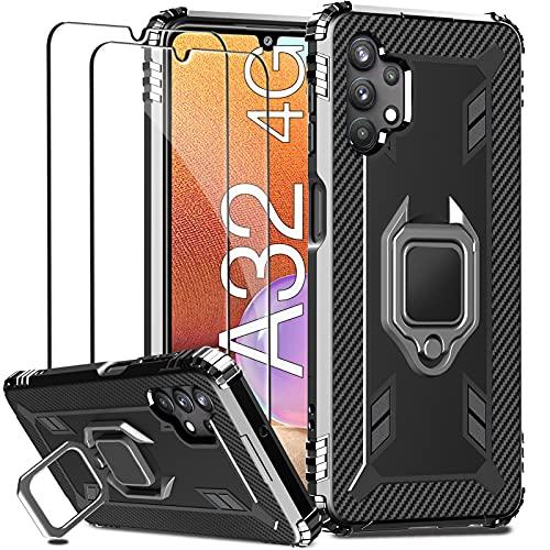 IMBZBK Funda para Samsung Galaxy A32 4G (No apto para A32 5G), con 2 Protector Pantalla Cristal Templado, [Anillo Soporte de 360 Grados] [Cuatro Bolsas de Aire en las Esquinas] Silicona Carcasa, Negro