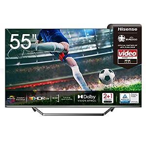Hisense 55U7QF QLED 139 cm (55 Zoll) Fernseher (4K ULED HDR Smart TV, HDR 10+, Dolby Vision & Atmos, Full Array Local Dimming, WCG, USB-Recording, Ultra Slim Design, Mittelstandfuß)