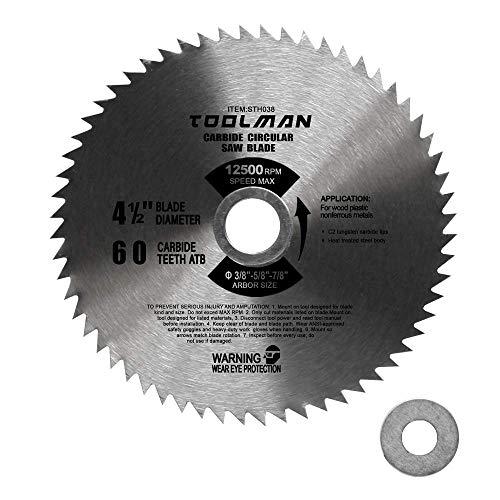 "Toolman 4-1/2"" 60T Carbide Circular Saw Blade 12500RPM for cutting wood plastic nonferrous metal STH038"