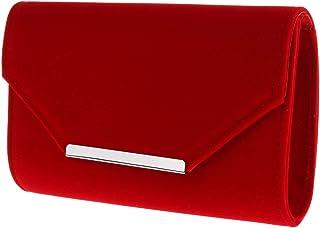 Baosity Women's Suede Evening Clutch Bag Crossbody Bag Formal Shoulder Handbag