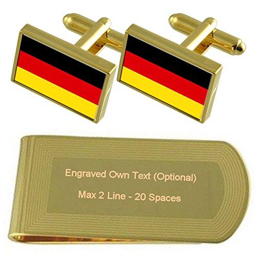 Select Gifts Deutschland Fahne Gold-Manschettenknöpfe Geldscheinklammer Gravur Geschenkset