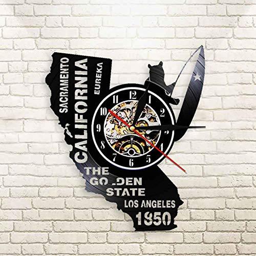 ASDVB Eureka The Golden State California State Home Wall Clock Sacramento Los Angeles Vinyl Record Wall Clock USA Travel Souvenir Gift