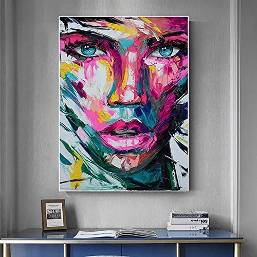 Pinturas en Lienzo abstractas con Cara de niña Africana Colorida, Carteles e Impresiones, Arte de Pared Moderno, decoración de imágenes para el hogar 60x90cm