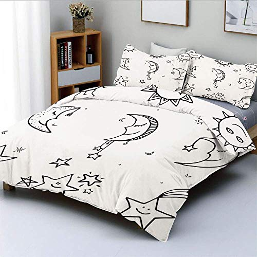 Set copripiumino, immagine disegnata a mano di Sun Moon Stars Emoji Kids Nursery Room Stampa artistica ImageDecorative set di biancheria da letto in 3 pezzi con 2 cuscini, bianco e nero, il miglior re