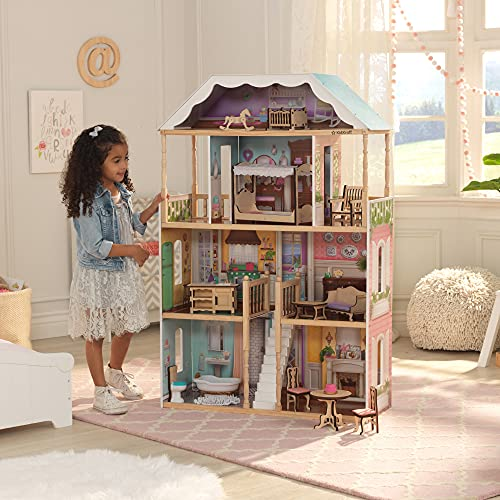 KidKraft Charlotte Classic Wooden Dollhouse with EZ Kraft Assembly, 14-Piece Accessory Set, for 12-Inch Dolls, Gift for Ages 3+