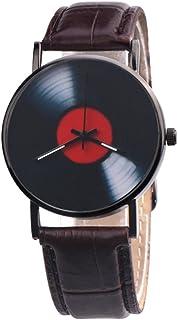 Livecity, orologio da polso analogico al quarzo, con quadrante in finta pelle, stile retrò, in vinile, idea regalo