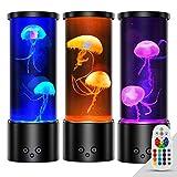 Lampara Medusa Acuario Luz de Noche Control Remoto Luz Ambiente con 17 Lampara Led Colores & 4 Modos de Color, Medusas Artificiales Acuario USB Lámpara de Mesa por Oficina en Casa Decoración, Negro