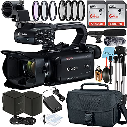 Canon XA40 Professional UHD 4K Video Camcorder with 2 Pack 64GB SanDisk Memory Card + Case + Tripod + Filter Kit + Microphone + ZeeTech Accessory Bundle