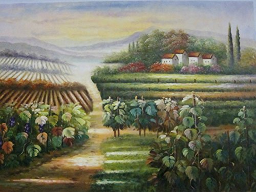 Real Hand Painted Tuscan Scenes Vineyard Italy Canvas Oil Painting for Home Wall Art Decoration, Not a Print/ Giclee/ Poster