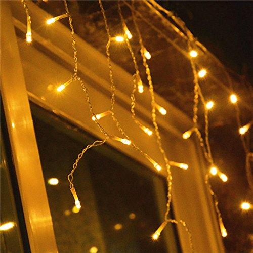 Riossad LED Eisregen außen 20m 600 Led Lichterkette strombetrieben, Lichterkette warmweiß, Lichterkette innen Lichtervorhang Weihnachtsbeleuchtung für Weihnachten Balkon Hochzeit Party(Warmweiß)