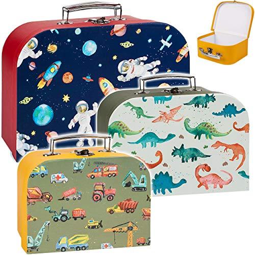 alles-meine.de GmbH Koffer / Kinderkoffer - KLEIN - Raumschiff & Dinosaurier & Auto - 20 cm - ideal für Spielzeug und als Geldgeschenk - Mädchen & Jungen - Pappkoffer - Puppenkof..