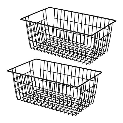 YUEWEIWEI Conjunto de 2, cesta de organizador negro, almacenamiento de alambre de acero resistente, estantería de bins del organizador con asas para juguetes, suministros para mascotas, ropa, congelad