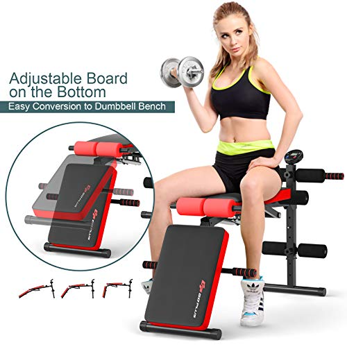 Goplus Adjustable Sit Up Bench, Foldable Utility Weight Bench w/LCD Monitor Flat/Incline/Decline Exercise Multi-Purpose Bench for Home, Gym and Office (Red)