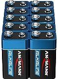 ANSMANN 9V Block Batteries 10 pièces - Pile alcaline 9 volts pour bloc idéale pour les détecteurs de mouvement, les jouets, la télécommande, les détecteurs (La conception peut varier)