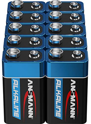ANSMANN 9V Block Batterien 10 Stück - Alkaline 9 Volt Blockbatterie ideal für Bewegungsmelder, Messgerät, Spielzeug, Fernbedienung, Fernsteuerung, Detektoren (Design kann abweichen)