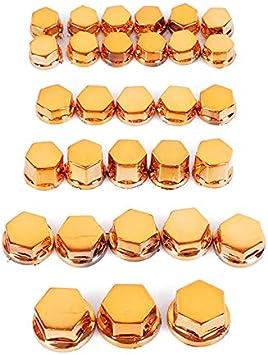 L-Yune Boulon 30 pcs//Ensemble Moto vis /écrou Boulon Bouchon d/écoration 5 Tailles Moto moulures ornementales Bouchon /à vis Color : Gold