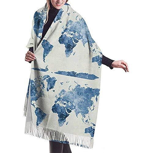 Bufanda Bufanda para mujer Mapa del mundo abstracto Bufanda a cuadros con borlas clásicas Bufanda cálida de otoño e invierno